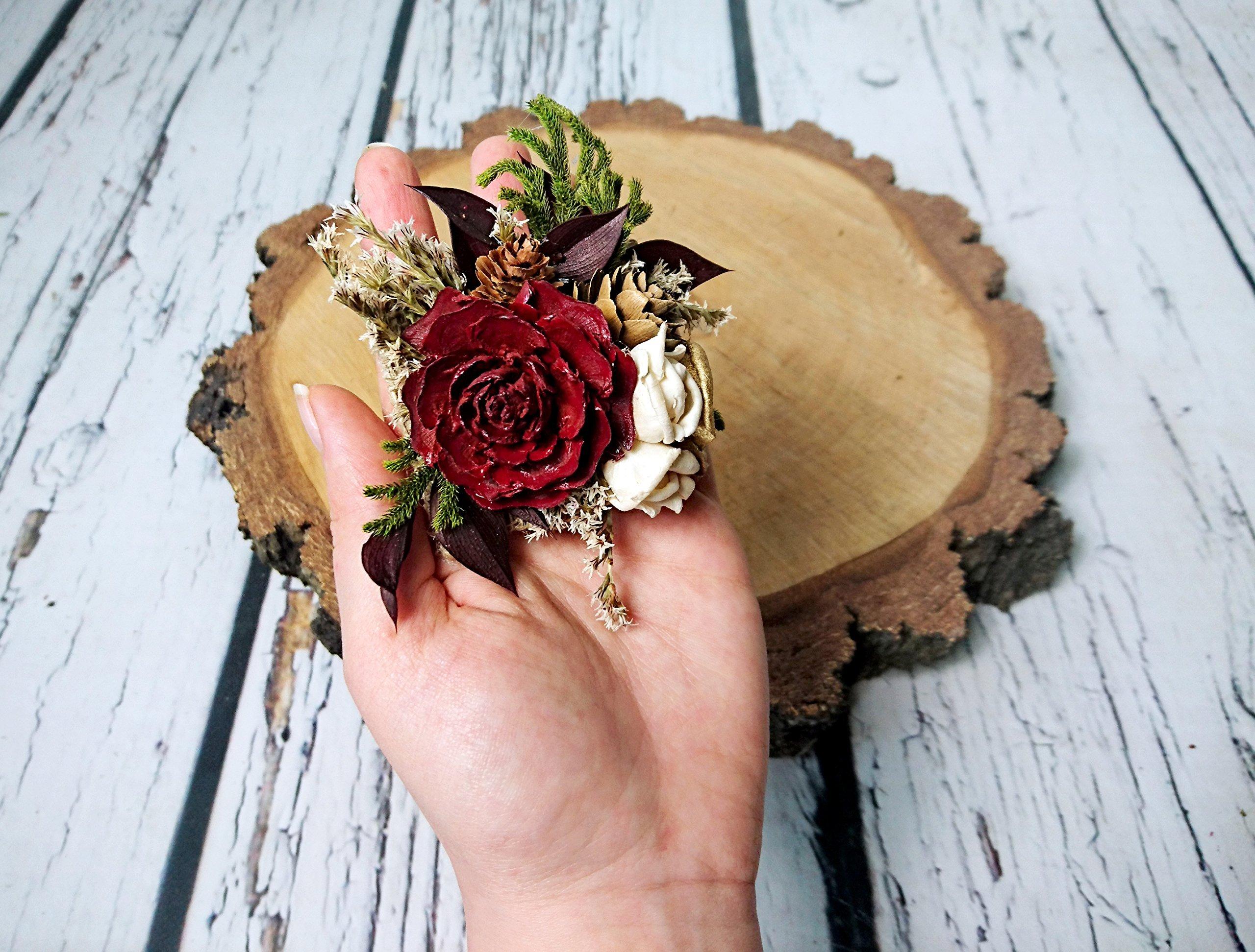 Ivory Burgundy Gold Rustic Wedding Brooch Corsage Sola Flowers Cedar Rose Cypress Silk Flower Arrangements