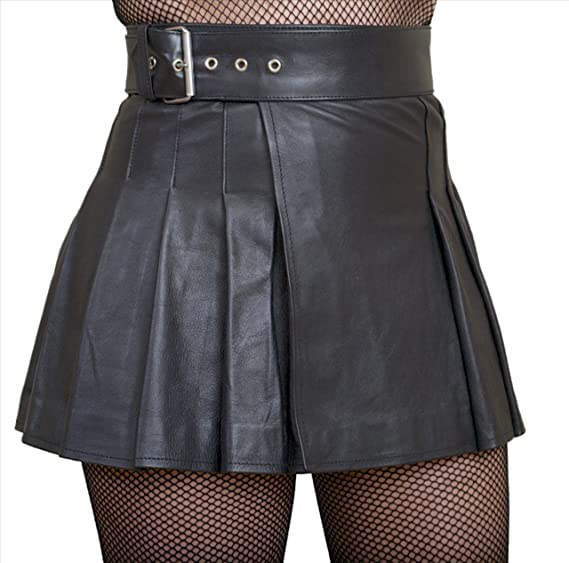 b9b1a778564d Real Genuine Leather Wrap-Around Pleated Short Mini Kilt Skirt (Black,  Waist 26in