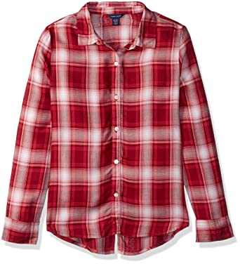9151e53c Tommy Hilfiger Big Girls' Plaid Shirt, Rhubarb red, ...