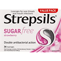 Strepsils Sugar Free Throat Lozenges Strawberry Pain Relief (Count of 36) (3003960)