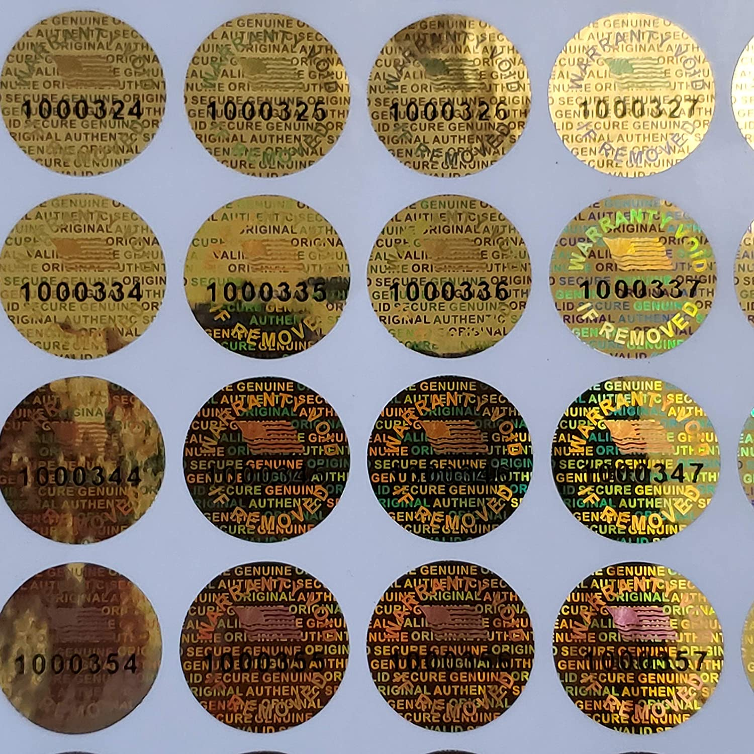 Golden Color 14 MM 100 Round with Serial Number Hologram Labels Tamper Evident Stickers Security Void Seals Labels 0.53 inch Dealimax Brand