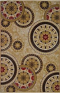 Bandelini Napoli Collection Modern Contemporary Floral Live Rectangular Circular Design Rubber Backed Non Slip