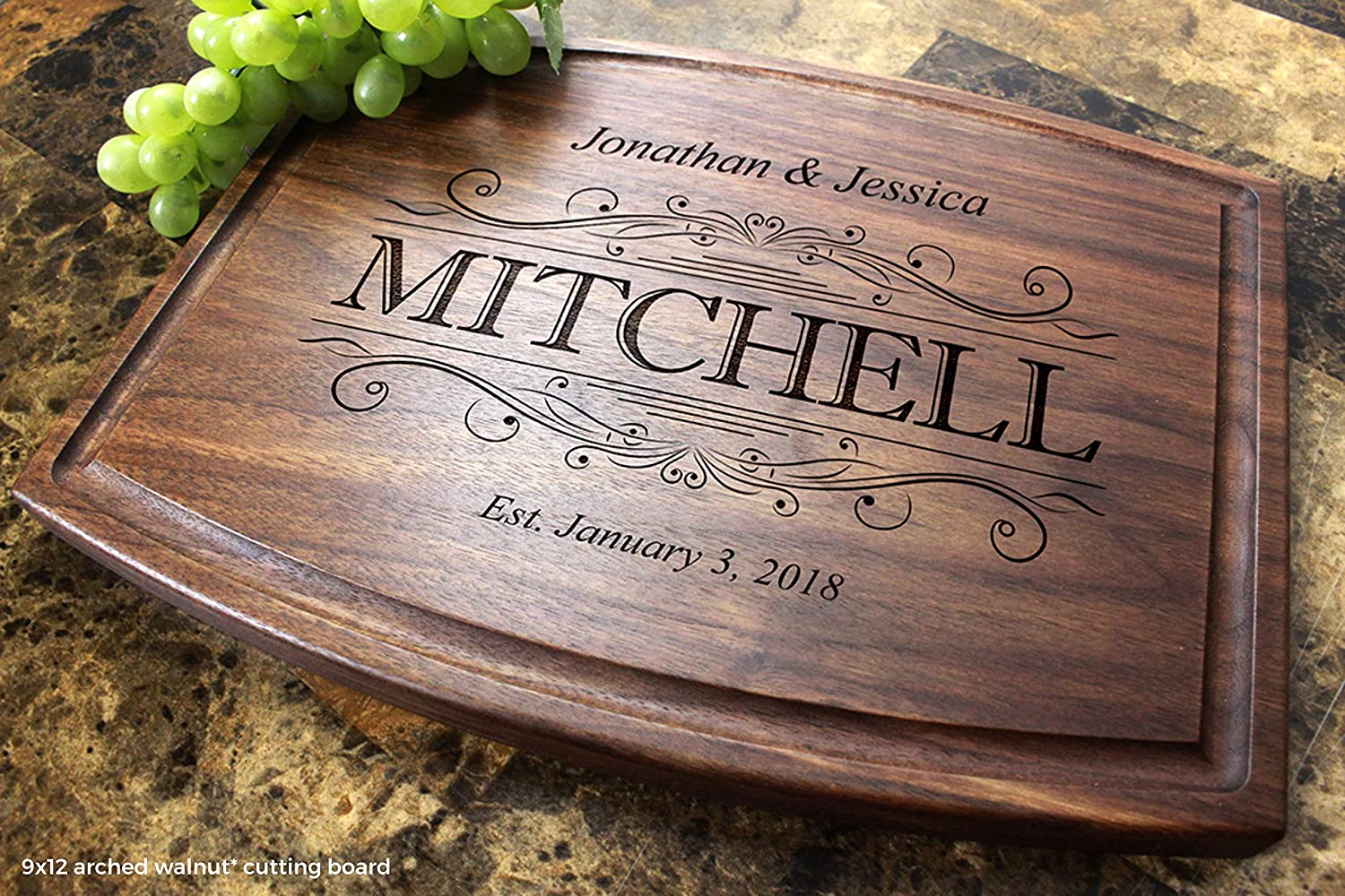 Anniversary Gifts Classic Swirl Personalized Engraved Arched Cutting Board- Wedding Gift,Engagement Award #002 Housewarming,Birthday Corporate Gift