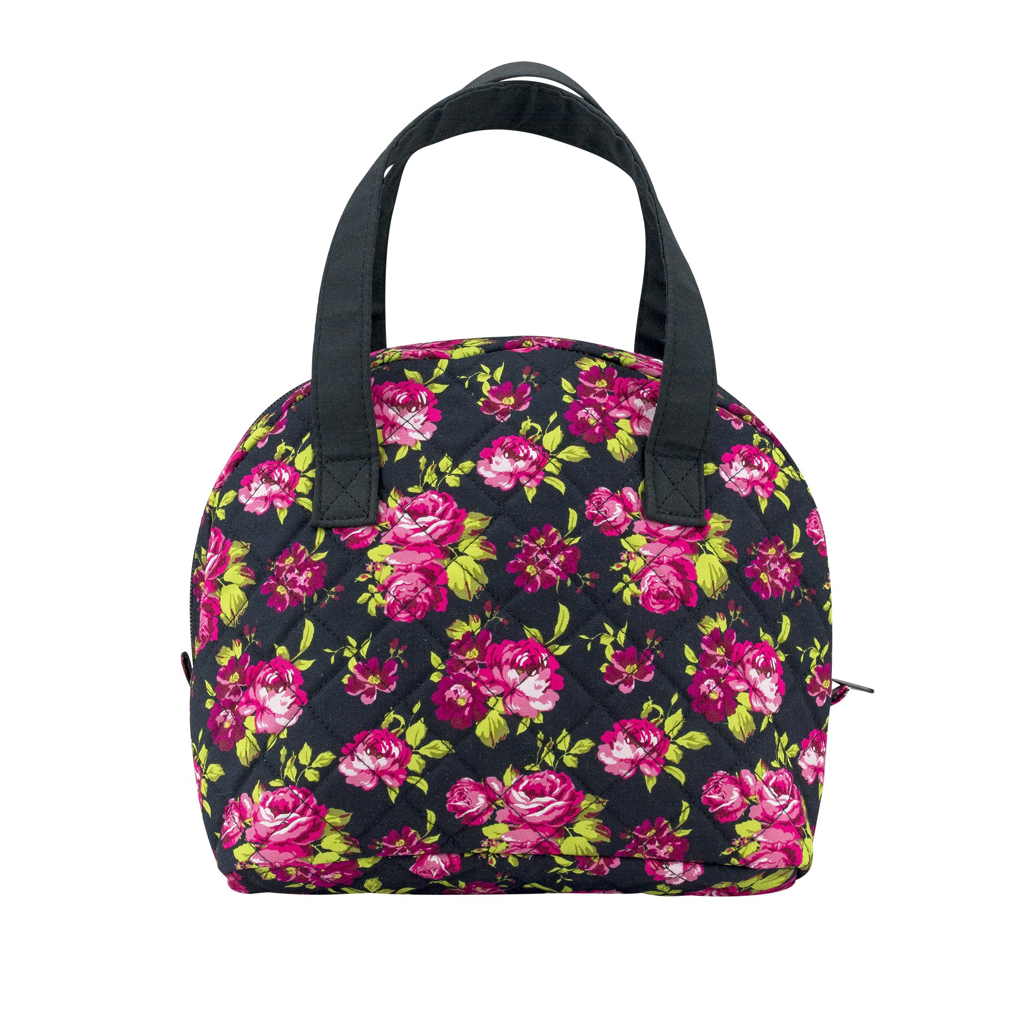 Sheffield Home Quilted Floral Print Insulated Zippered Double Handle Lunch Tote W/Plastic Container For Women (Floral Print)