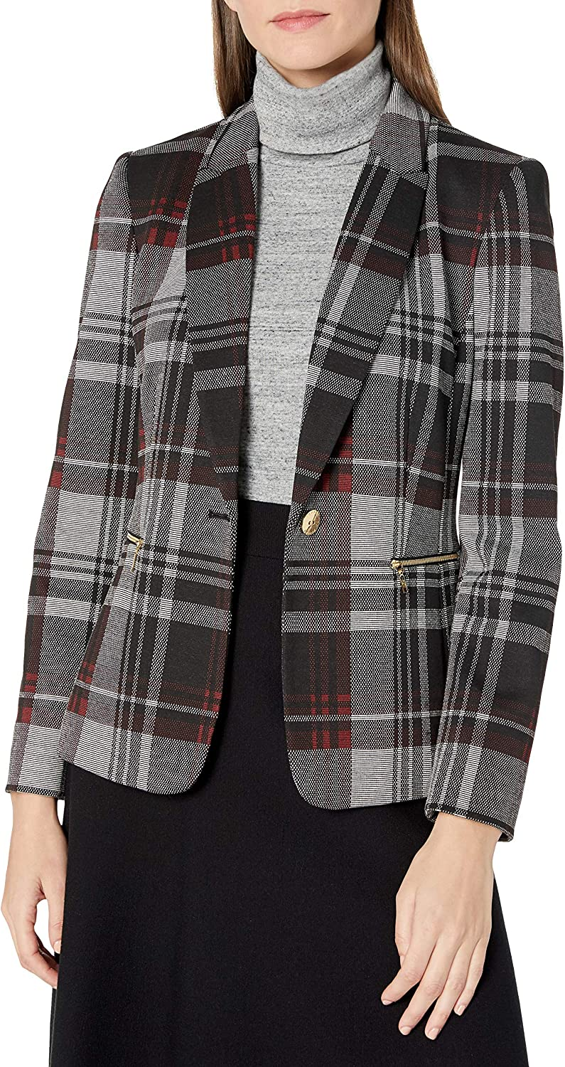 Tahari ASL Women's Undercollar Plaid Jacket with Zippers