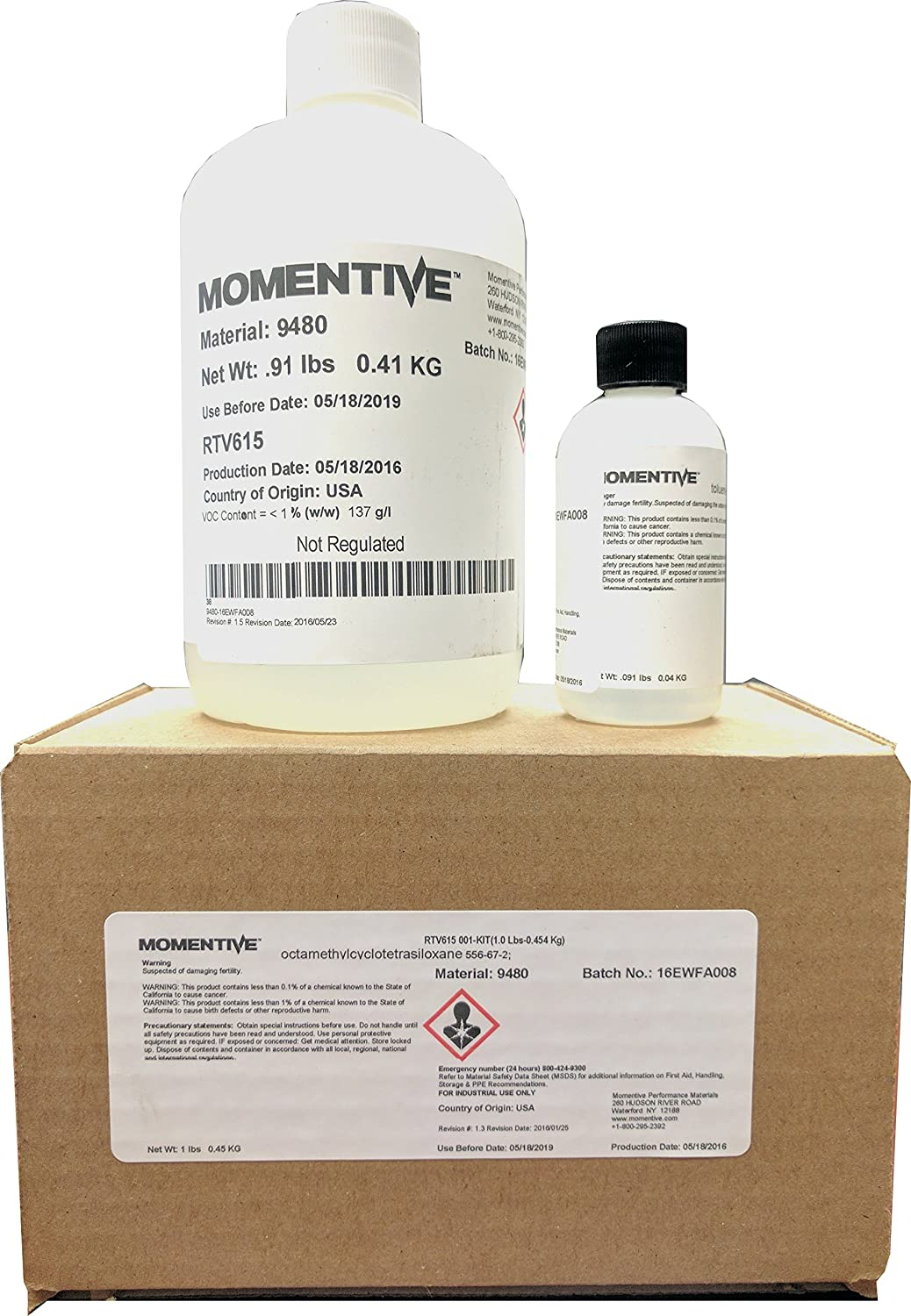 Image of MOMENTIVE RTV615 Two-Part High Strength Silicone Rubber Compound Kit, 500V/mil Dielectric Strength, Clear, 1 lb. kit, Bottles Coatings