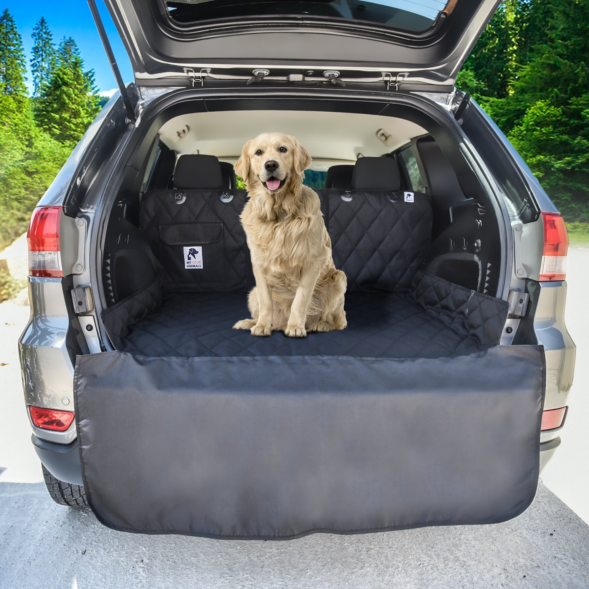 Dog Cargo Liner for SUV, Van, Truck & Jeep - Waterproof, Machine Washable, Nonslip Pet Seat Cover with Bumper Flap will keep your vehicle as clean as ever - XL, Universal Fit - BONUS Carry Bag by WE LOVE ANIMALS (Image #1)