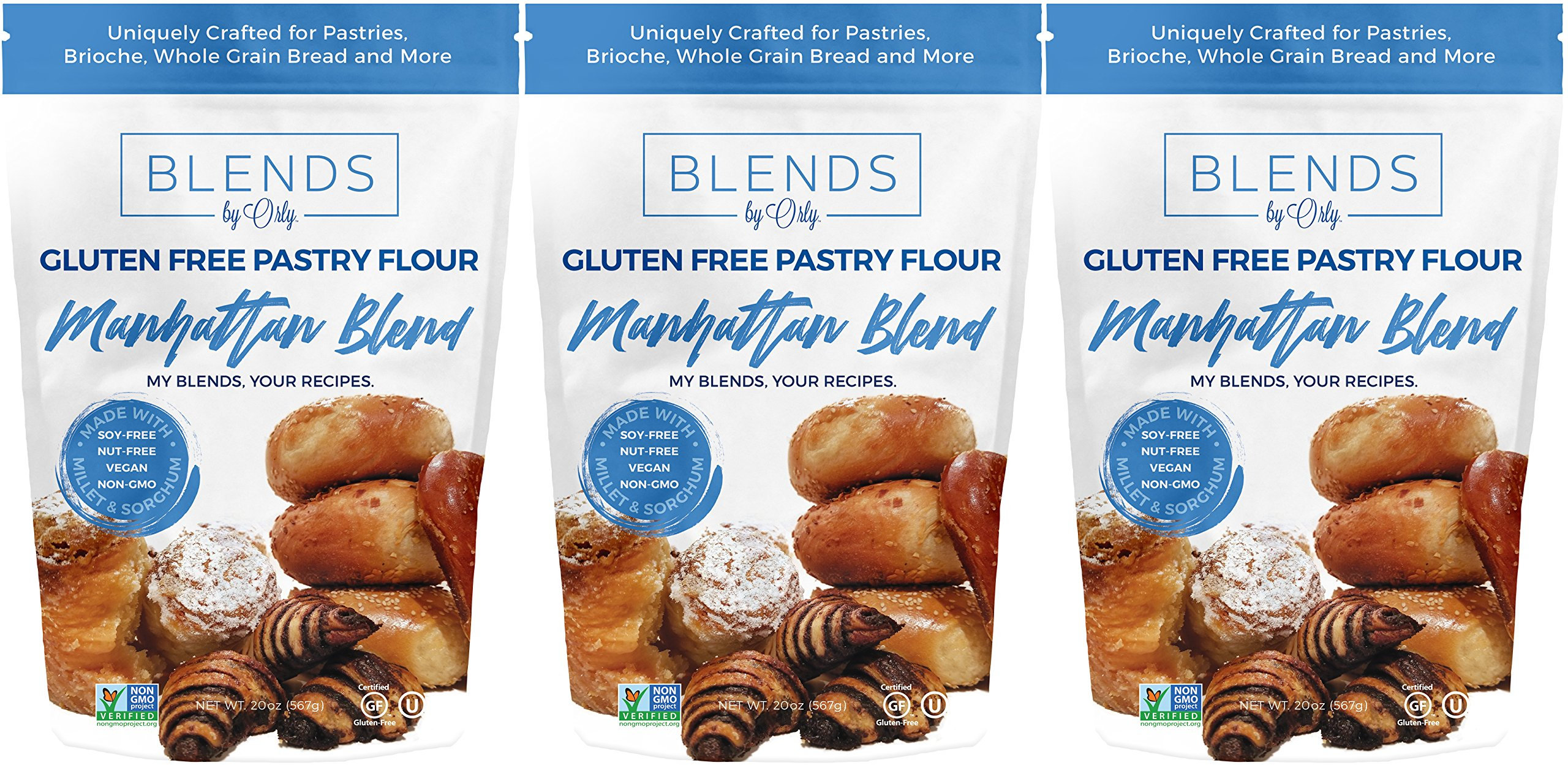 Premium Gluten Free Pastry Flour   Gluten Free Donut Flour - Baking Flour for Gluten Free Challah Bread, GF Brioche Bread, GF Cinnamon Roll & GF Bagels from Manhattan Blends by Orly 60 OZ (Pack of 3) by Blends By Orly