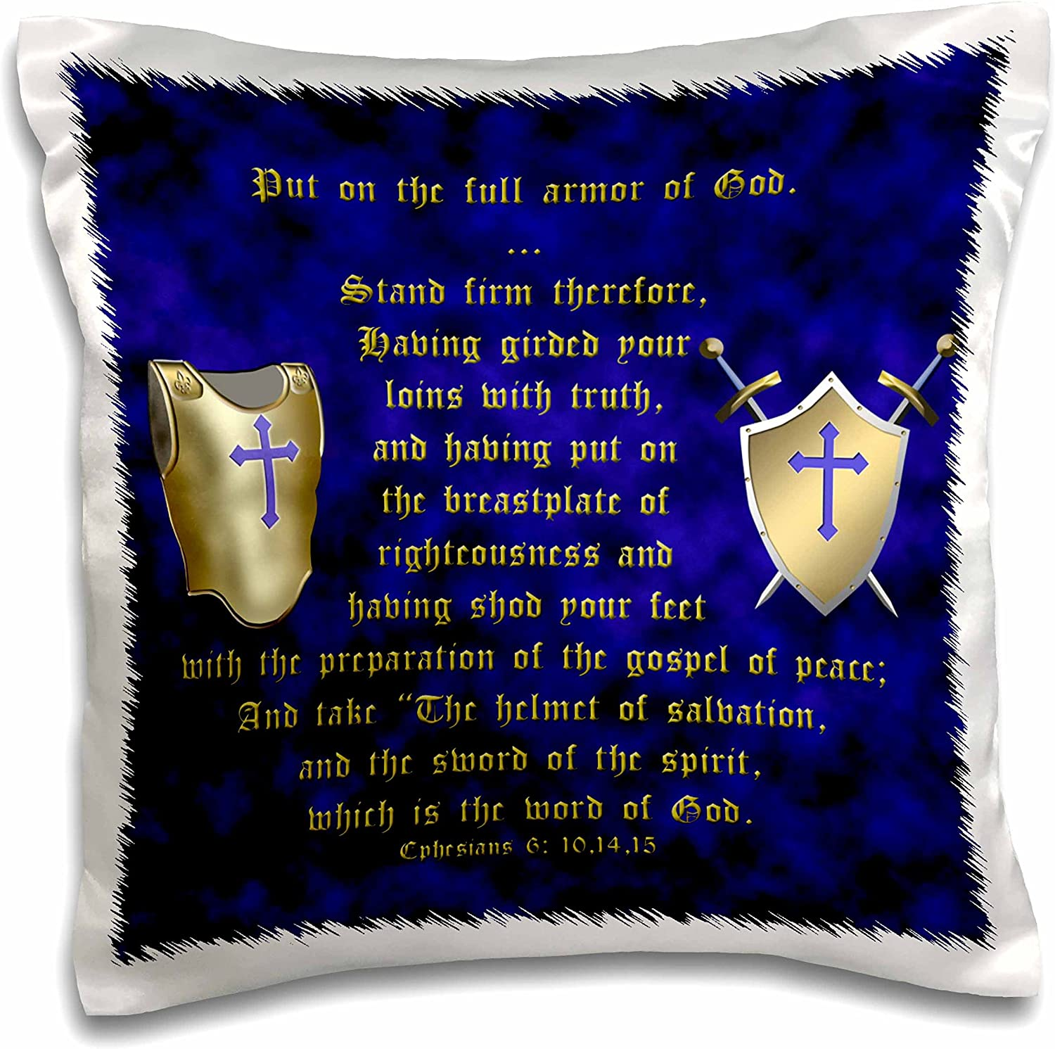 3dRose Ephesians 6 Verses 10, 14, 15 Put on Full Armor of God Illustrated with Breastplate, Shield, Swords-Pillow Case, 16-inch (pc_40072_1)