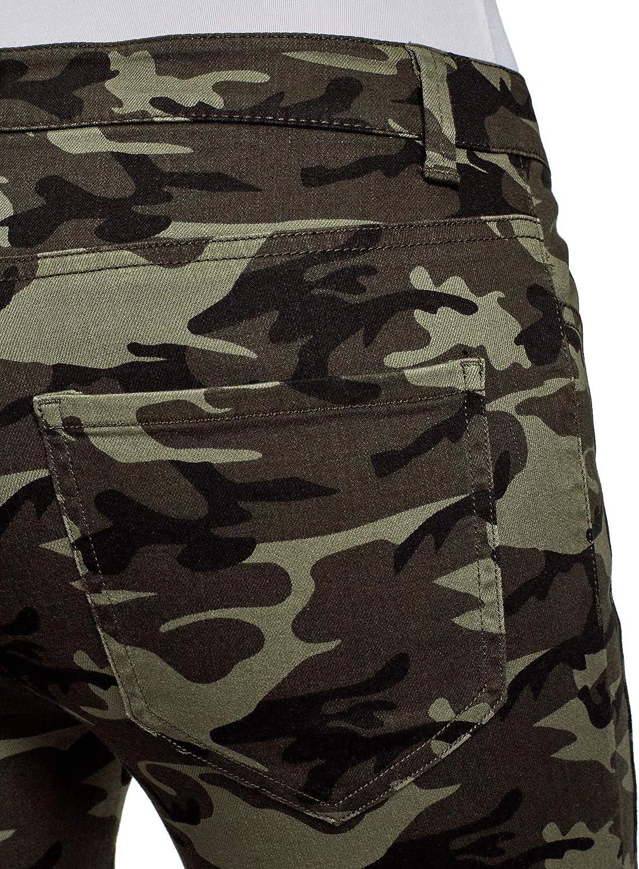 oodji Ultra Femme Jean Style Militaire avec Surpiq/ûres D/écoratives