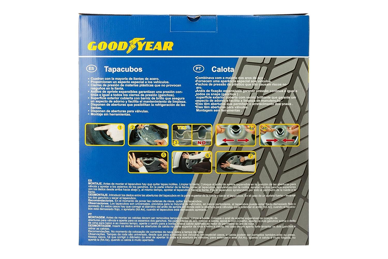Goodyear GOD9043 Juego Tapacubos DAYTONA, Set de 4, Plata/Negro, 15 Pulgadas: Amazon.es: Coche y moto