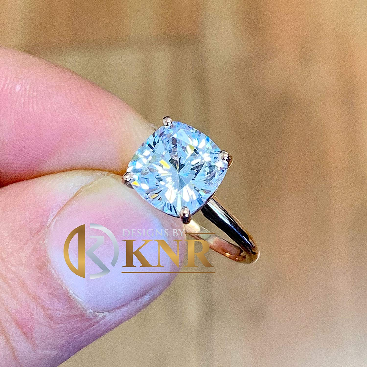 wedding bridal set Beautiful 4.00ct set in 14k solid rose gold cushion cut moissanite engagement ring solitaire anniversary