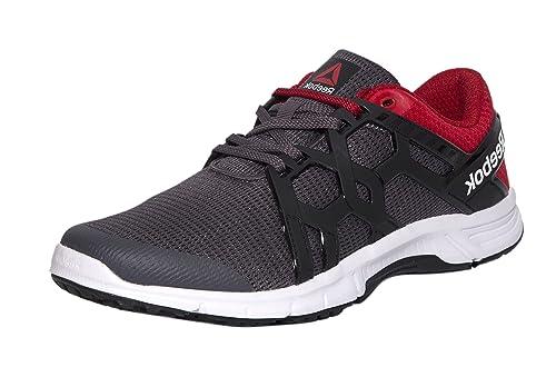 574adfc5ef34a0 Reebok Men s Gusto Run Ash Grey Red Rush Wht Blk Running Shoes-8 UK ...