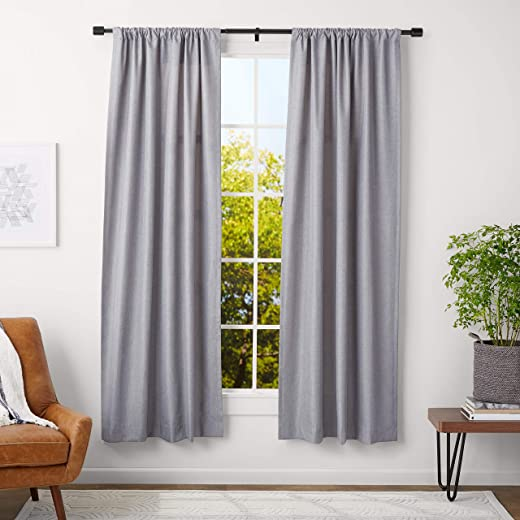 AmazonBasics Curtain Rod with Cap Finials, 91 to 182 cm, Black