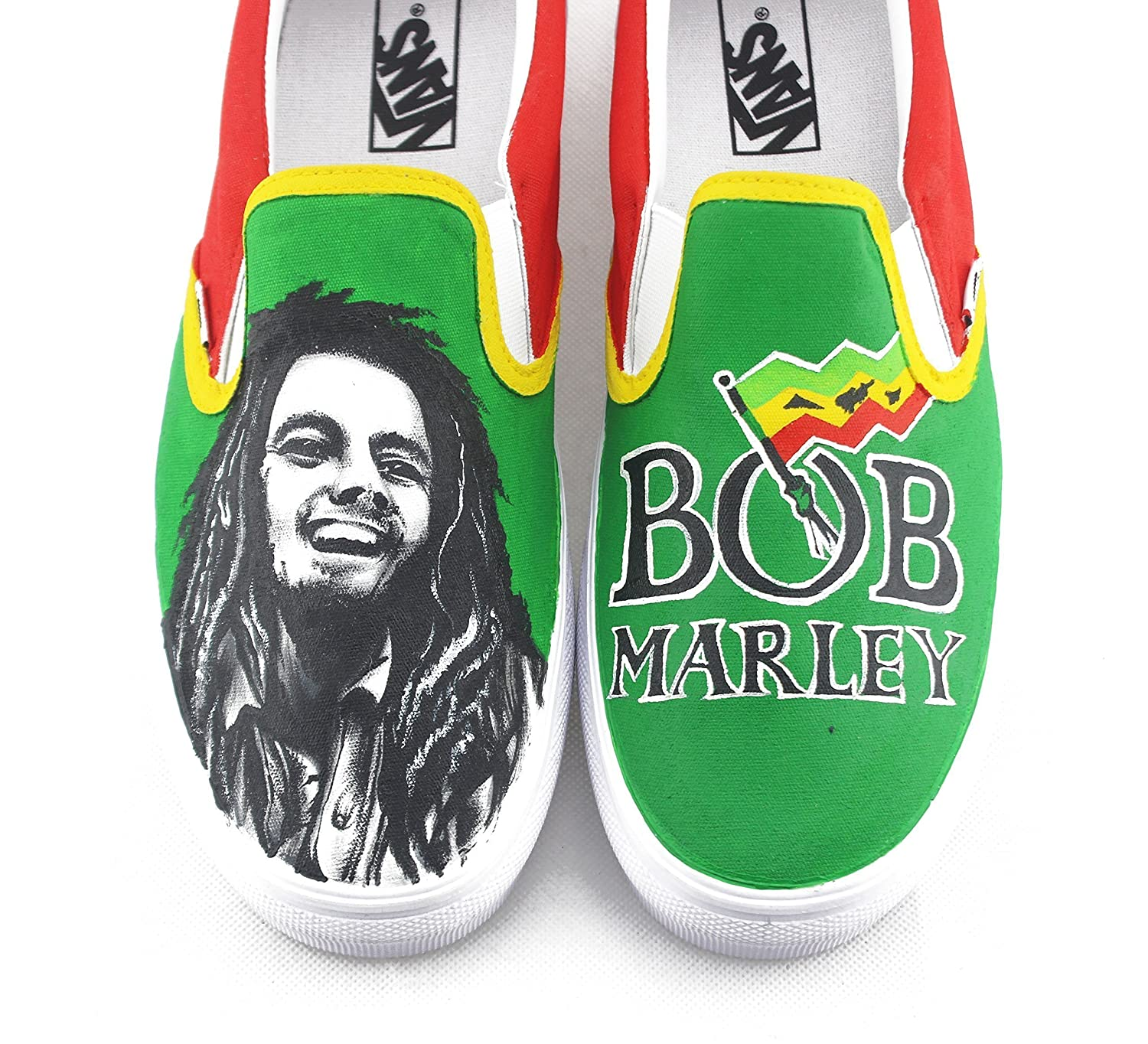 Hand Painted Shoes Vans Custom Sneakers Bob Marley Painted Shoes Men Women Sneakers