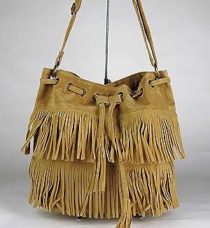 Faux Suede Tassel Handbag
