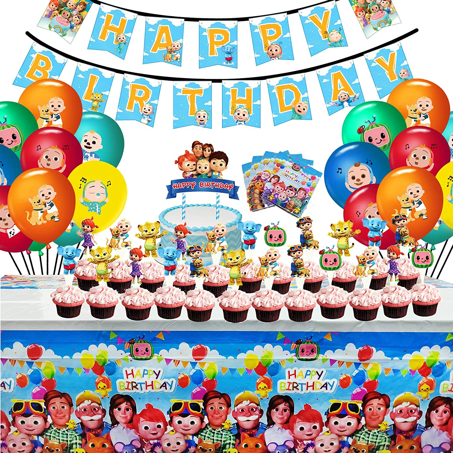 Cake Toppers Including Banner Cocomelon Birthday Party Supplies for Kids Hanging Swirls VWORK 46PCS Cocomelon Party Favor Party Decorations Table Cover Balloons