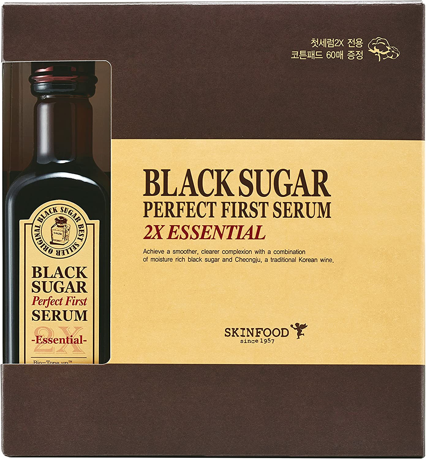 Skinfood Black Sugar Perfect First Serum 2x Essential (4.05fl.oz/120ml) with Cotton Pad 60 Sheets