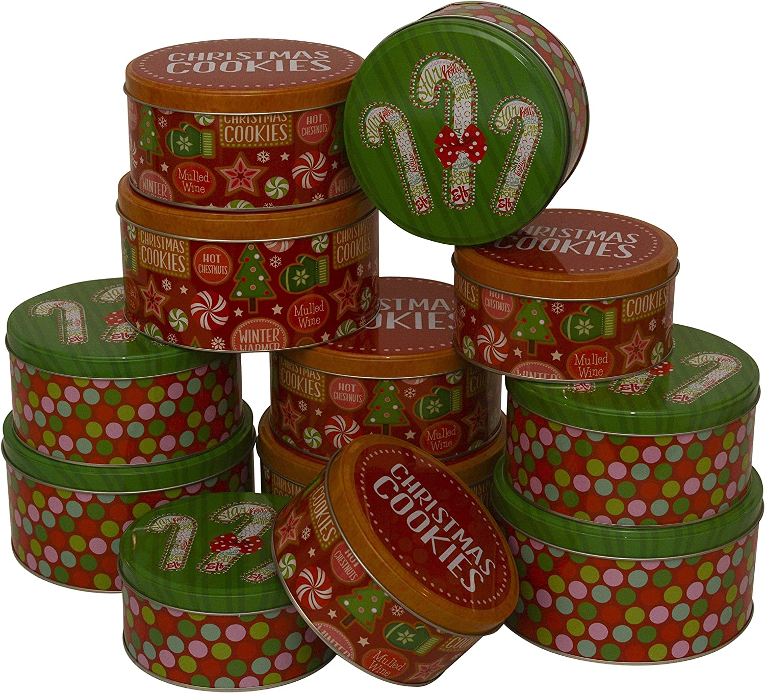 Christmas Cookie Tins, round nested, 4 sets of 3 nesting tins, 12 tins included; bulk pack Splendid Designs