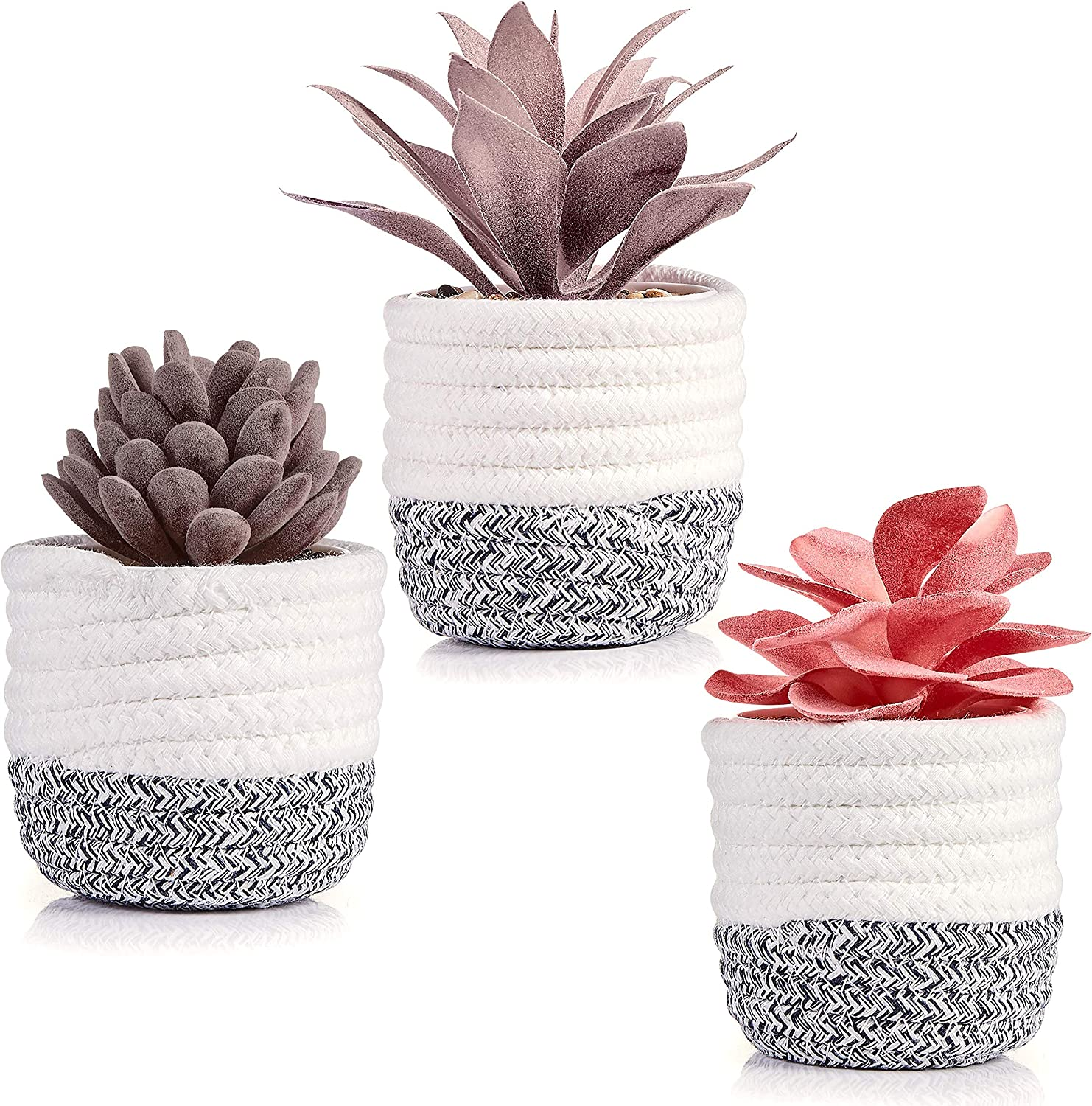 VIVERIE Artificial Succulents in Plant Basket for Shelf Decor, Office Desk, Living Room Table and Bedroom Decorations - Set of 3 Purple and Red Fake Succulents with Removable Rope Basket