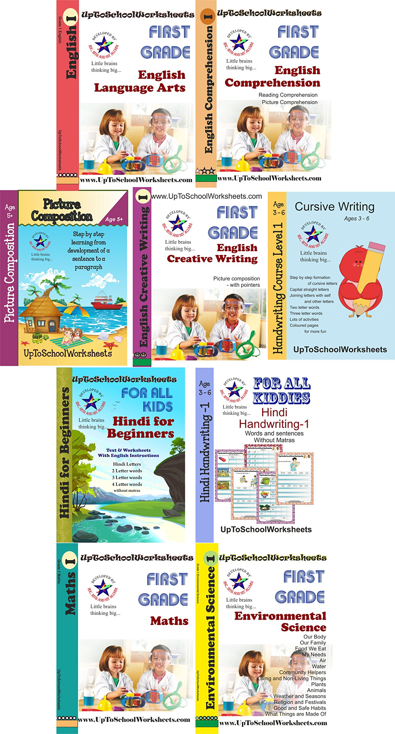 Buy Set Of All Class 1 Worksheets Cbse Icse With Answer Key English Worksheets English Comprehension English Creative Writing Maths Enviornment Science Hindi Without Matras Book Online At Low Prices In India Set Of All