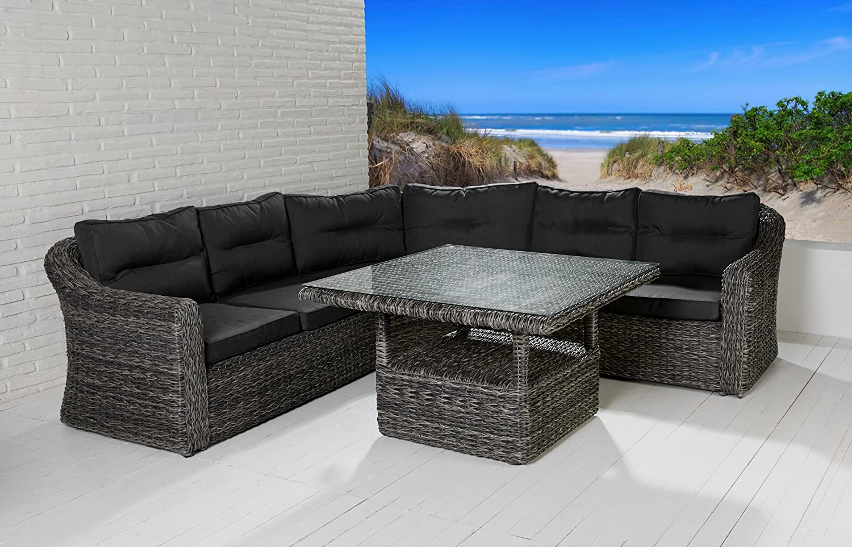 polyrattan sitzgruppe borkum grau mix mit tisch On loungemobel tisch