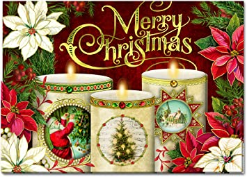 punch studio christmas dimensional greeting cards glowing candles with red and white poinsettias with gold