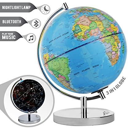 Amazon cambodia shopping on amazon ship to cambodia ship overseas led light up globe with bluetooth speaker chrome base and detailed world map constellations gumiabroncs Image collections