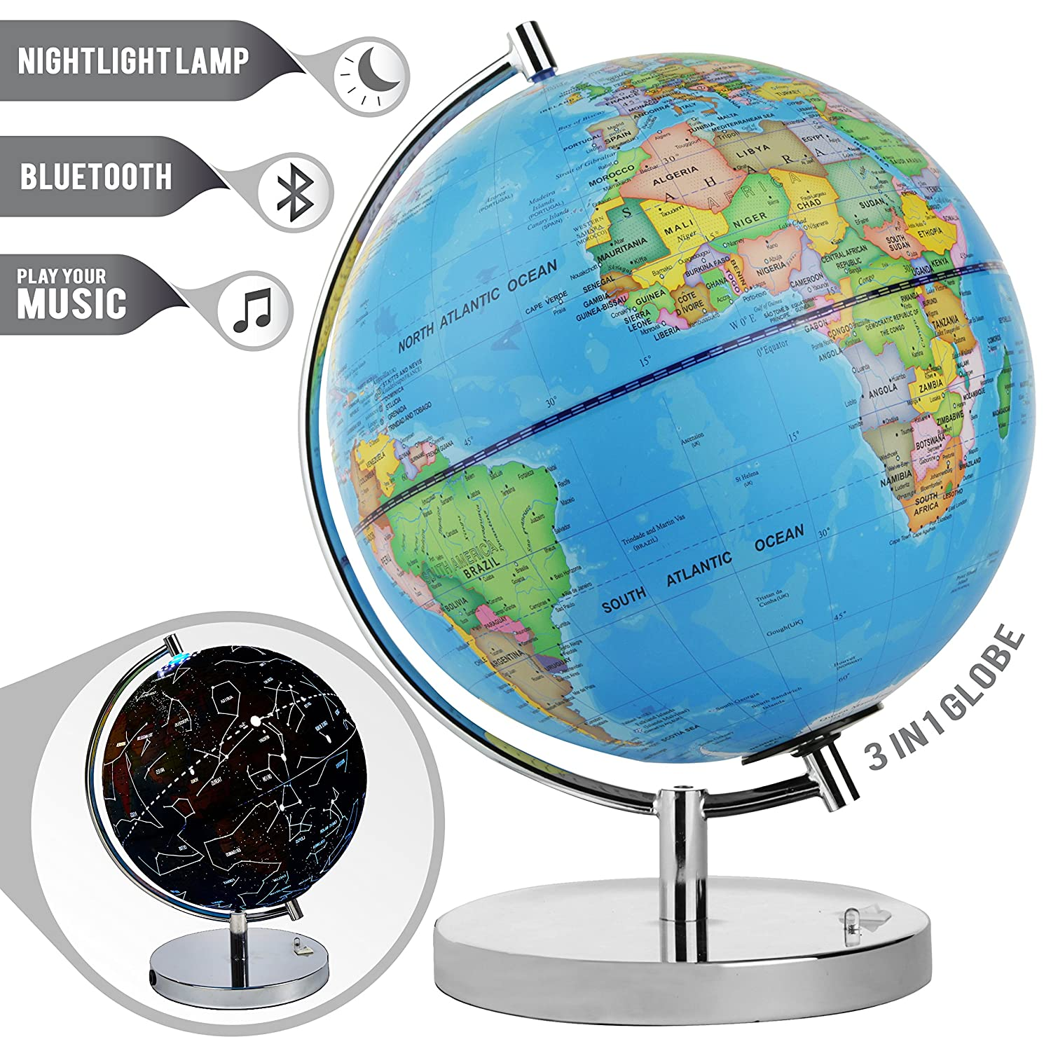 Amazon led light up globe with bluetooth speaker chrome base amazon led light up globe with bluetooth speaker chrome base and detailed world map constellations glow at night projects star lights on ceiling gumiabroncs Image collections