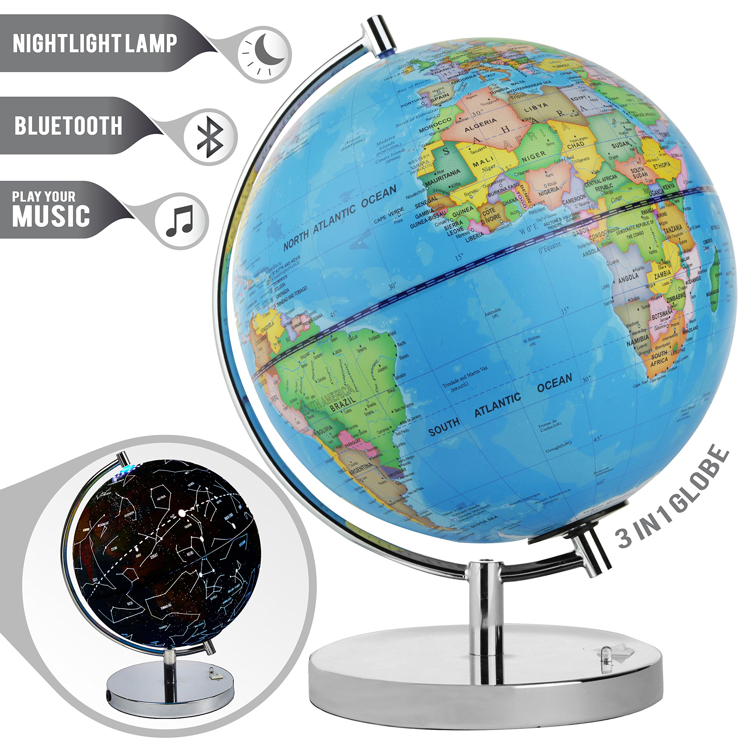 "LED Light up Globe with Bluetooth Speaker, Chrome Base and Detailed World Map - Constellations Glow at Night – Projects Star Lights on Ceiling as Nightlight - 12.5 x 9"" - by ToyThrill"