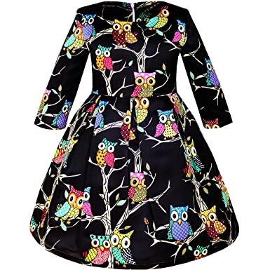 JW91 Girls Dress Fit-and-Flare Owl Print Party Long Sleeve Cute Size 4 4b2d4c324