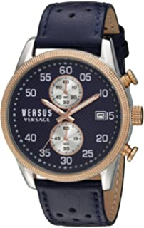 Versus by Versace Mens SHOREDITCH Quartz Stainless Steel and Leather Casual Watch, Color