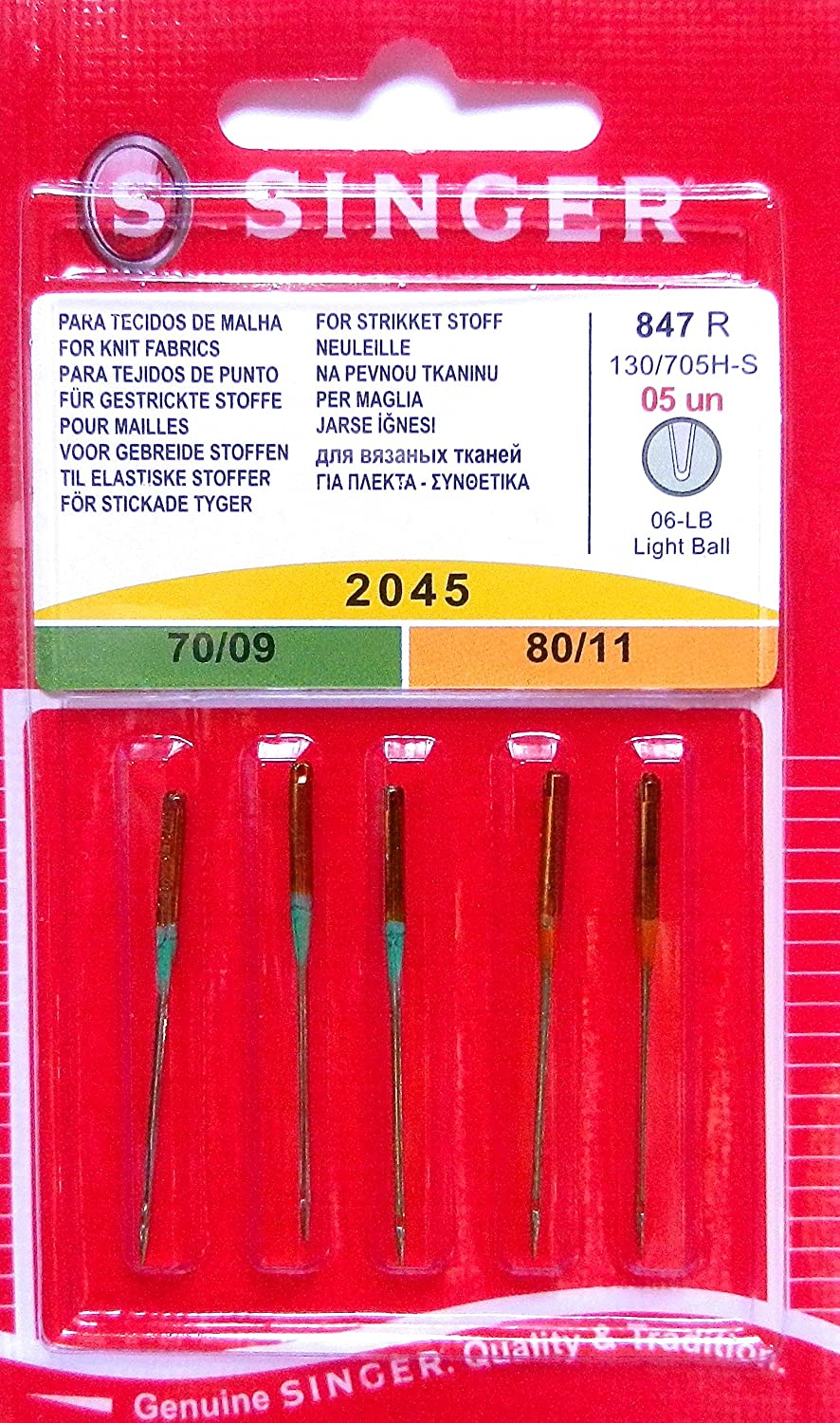 5genuine Singer Sewing Machine Needles 2045Gauge 70/09and 80/11for Knit 130/705H-S