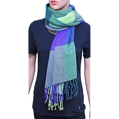 Écharpe Cape châle FIA MONETTI - vert / bleu - 180 x 60 cm - écharpe / écharpe femme - à carreaux - écharpe / écharpe hiver