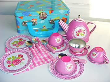 anthony peters pretend play tin tea set in blue patterned tin case
