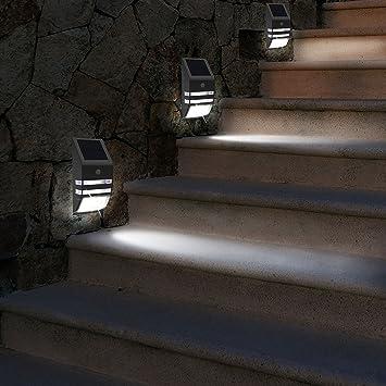 Sensor de movimiento solar Banwen LED soporte de pared camino luz, plata