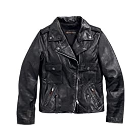 Harley-Davidson Womens Wild Distressed Leather Biker Jacket, Black (Medium)