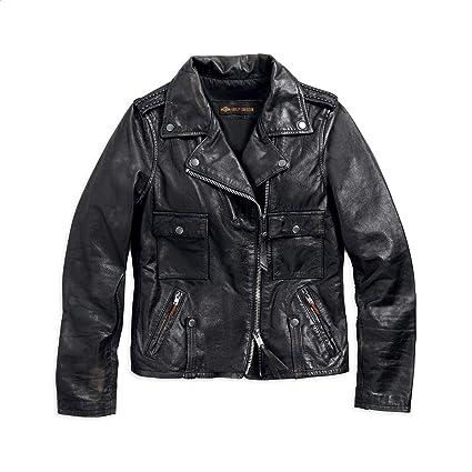 294684729 Harley-Davidson Official Women's Wild Distressed Leather Biker Jacket,  Black (Small)