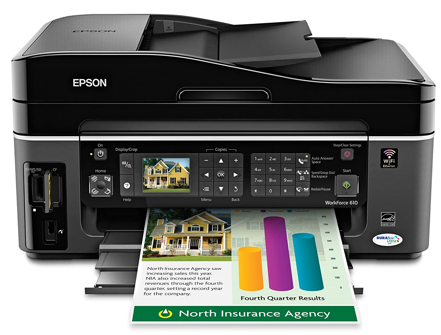 Amazon.com : Epson WorkForce 610 Wireless Color Inkjet All-in-One Printer  (C11CA50201) : Multifunction Office Machines : Electronics
