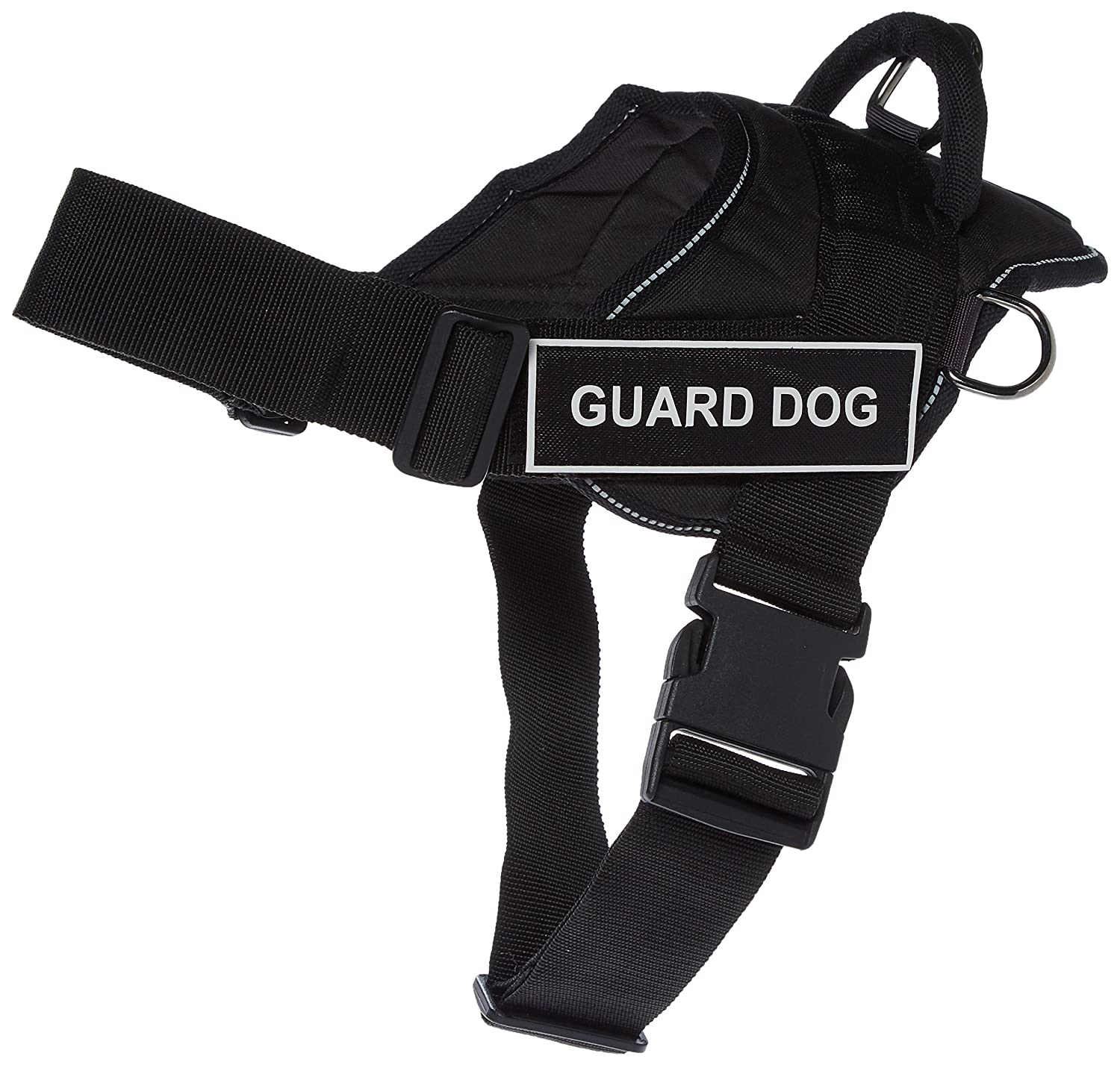 DT Fun Works Harness, Guard Dog, Black with Reflective Trim, Medium Fits Girth Size  28-Inch to 34-Inch