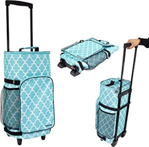 dbest products Ultra Compact Smart Cart Cooler Extended Insulated Collapsible Rolling Tailgate BBQ Beach Summer, Moroccan Tile