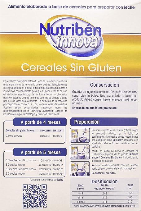 Nutribén Papillas Innova Cereales sin glutén, Sin aceite de Palma ni azucares añadidos- Alimento Para bebés- Desde Los 4 Meses- 1 unidad 600g