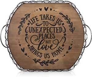 Fuzzy Hearts Farmhouse Decorative Tray - Wood Serving Tray with Handles - Coffee Table Tray - Farmhouse Tray - Wood Tray for Ottoman Coffee Table - Ottoman Tray - Wooden Tray - Tea Tray - Coffee Tray