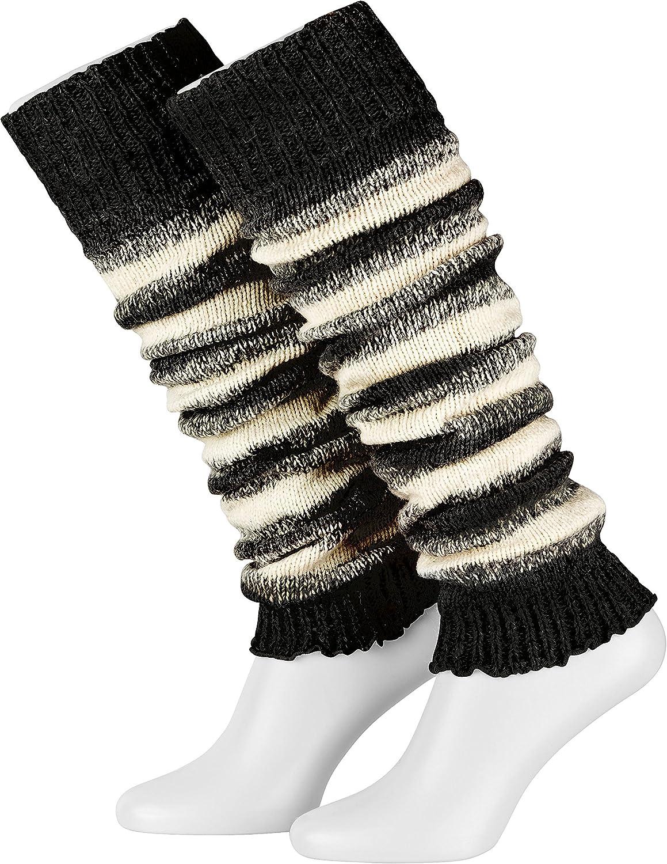 1 paio di scaldamuscoli da donna Lana in grigio//bianco//nero//bianco taglia unica Piarini Caldo gambe in maglia