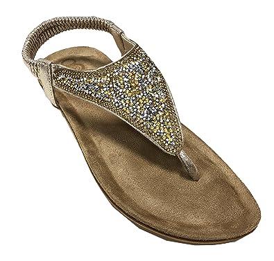 OOG Sommer Sandale Strassstein Damen Schuh Sandaletten Antirusch Dünne Riemen Gepolsterte Sohle (41, Weiß Silber)