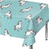 "Spritz Aqua Unicorn Party Table Cover - 54"" x 84"""