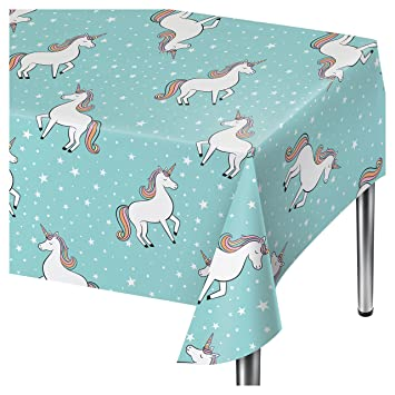 Spritz Aqua Unicorn Party Table Cover   54u0026quot; ...