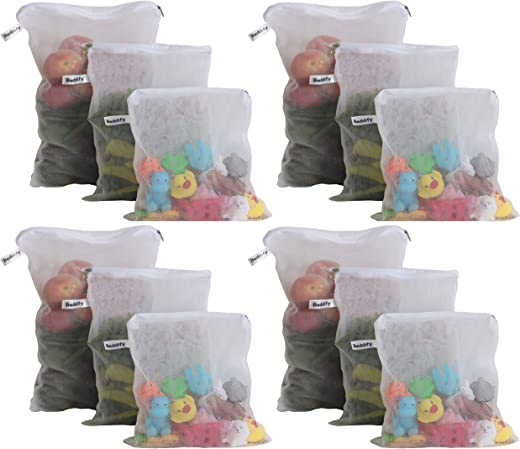 Beddify Set of 12 Premium Reusable Fridge Storage Bag for Vegetables and Fruits Zipper (4 Small, 4 Medium & 4 Large Size Bag)