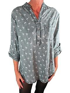 Tim Collins Damen Bluse Reine Baumwolle Vintage-Look Langarm Tunika Shirt  Fischerhemd Batik Flamingo- 4df54161aa