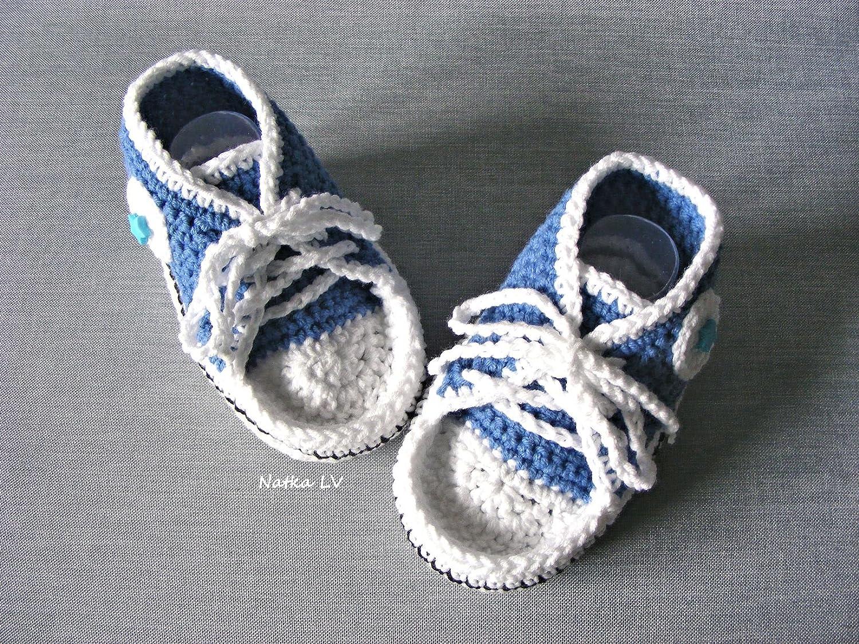 Blue Baby Booties Baby Sneakers Crochet Baby Boy Booties Baby